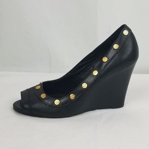Tory Burch Leather Peep Toe Wedges size 7 M